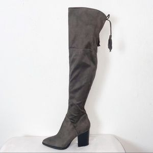 Marc Fisher Gray Suede Over The Knee Stretch Boot
